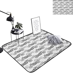 lacencn Motorcycle Bathroom Decor Mat Realistic Grayscale Illustration of Classic Motorcycles with Many Details Rug Versatility, Durable for Baby Nursery Decor, W35 x L47 Grey White Black