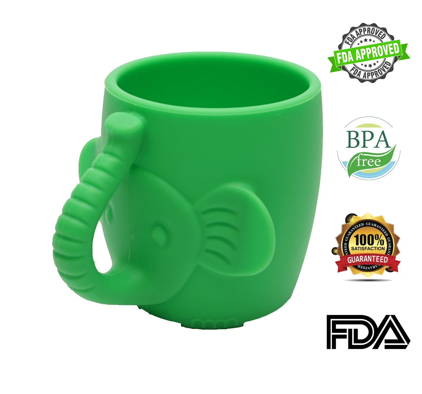 Baby Kid Sippy Cup Mug For Toddlers Learning Cup Elephant Design Great For Baby's Interaction Dexterity Food Grade Silicone BPA FREE Bambini Bear - Lime Green