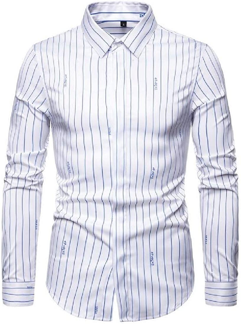 CRYYU Men Casual Long Sleeve Shirt Stripe Slim Button Down Stretchy Shirt