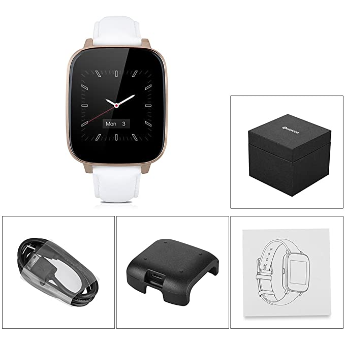 Zeblaze Crystal - Smartwatch Android Ios Bluetooth (Impermeable IP65, Antirobo, Podómetro, Correa Ajustable de Cuero), Blanco