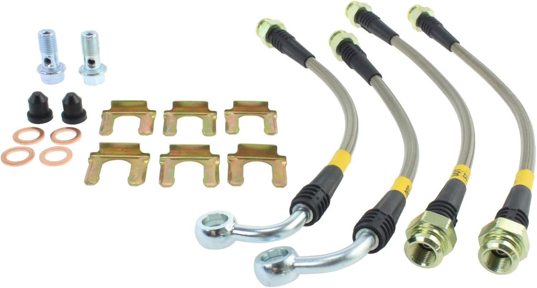 Pro Braking PBK0605-PNK-GOL Front//Rear Braided Brake Line Pink Hose /& Stainless Gold Banjos