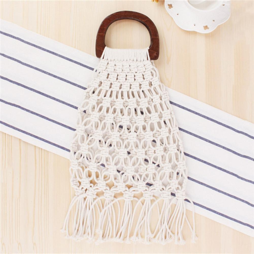 a4a2a77c91 Leiyini Summer Handmade Cotton Woven Handbag Fringed Crochet Bohemian Beach  Bag Hollow Fishing Net Package with Wooden Handle for Women Mesh Straw  Totes ...