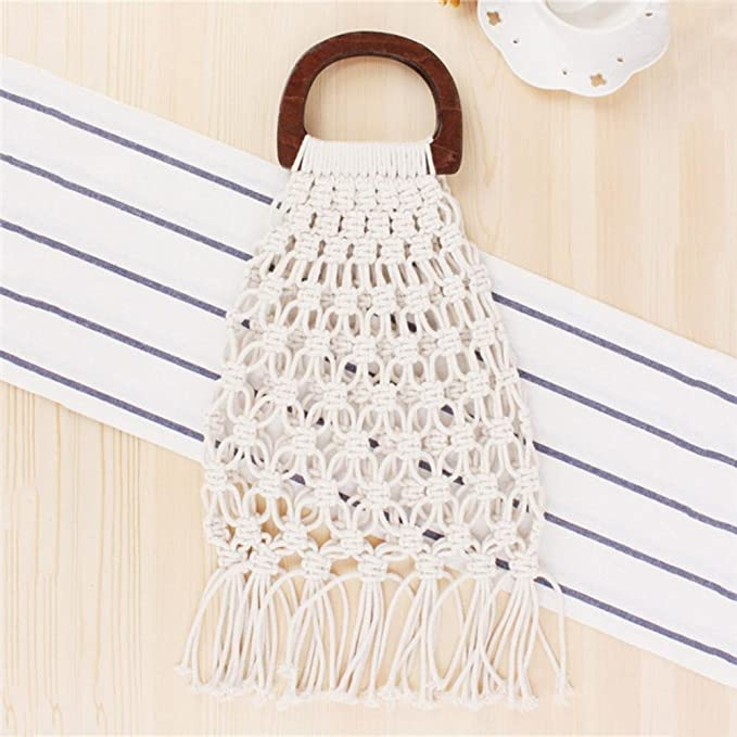 Amazon.com: Straw Bag Bag Beach Handmade Cotton Woven Wooden ...