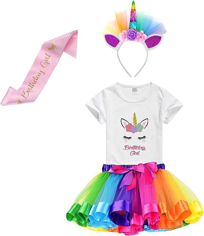 Amazon.com: Falda de tutú arco iris para niñas con camiseta ...