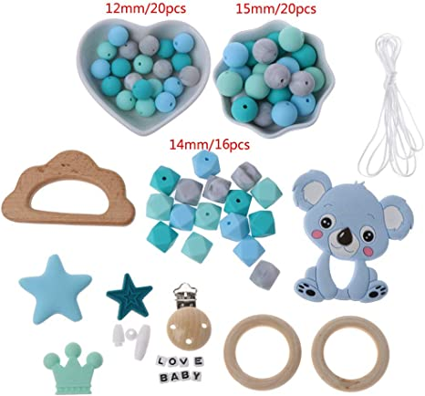 Silicone Teether Ring Necklace Baby Safe Chew Teething Teether Dummy Toy