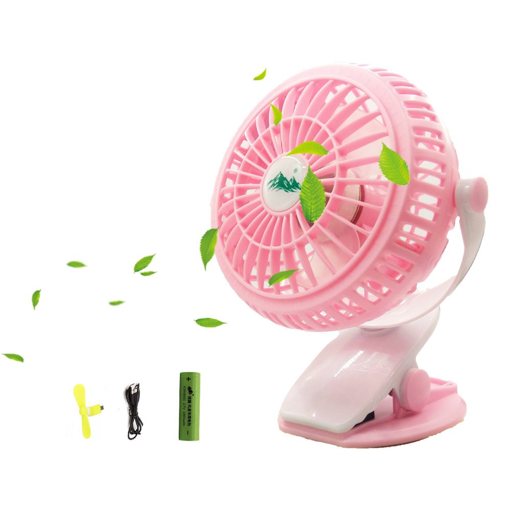 Battery Operated Clip Fan 360°Rotating Free Adjustment Mini Desk Fan with 3 Speeds,2200mAh Battery or USB Powered - 4 Inch Blades+A Phone Fan Perfect for Baby Stroller Outdoor Dorm Activity Office