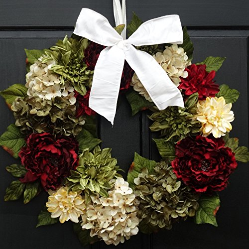 Large Christmas Wreath for Holiday Front Door Decor; Faux Hydrangea, Peony and Dahlia Mix; Burgundy Red, Cream (Off-White) and Green; 24 Inch ()