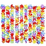 Beach Garlands Lei Hawaiian Ruffled Flower Necklace for Luau Party Show Dance 10 Pieces