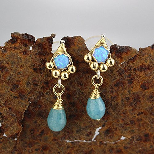 (Unique Blue Opal Gold Filled Dainty Studs Small Minimalist Bridal Post Earrings )