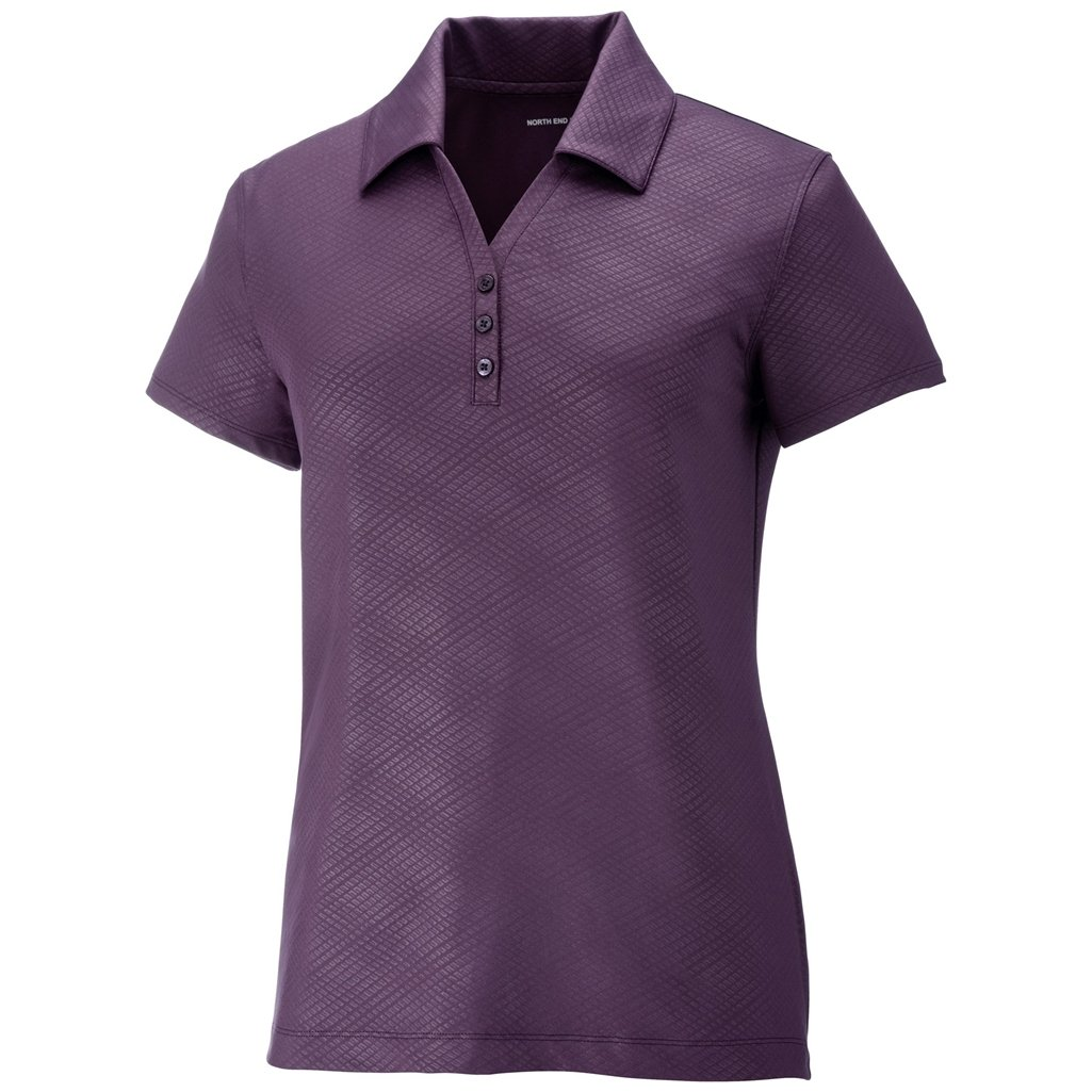 Ash City Ladies Maze Stretch Polo (Small, Mulberry Purple) by Ash City Apparel