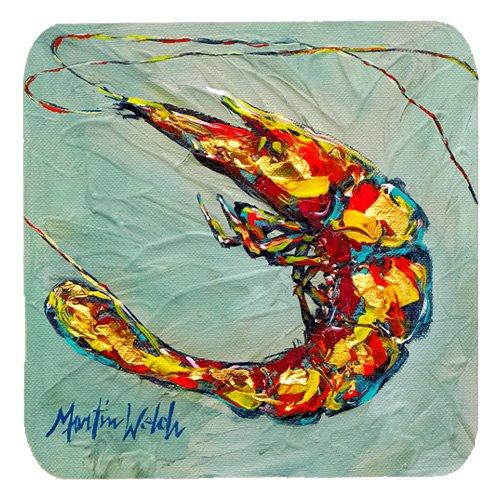Multicolor Carolines Treasures MW1054FC Shrimp Ripples Foam Coasters Set of 4 3.5 H x 3.5 W