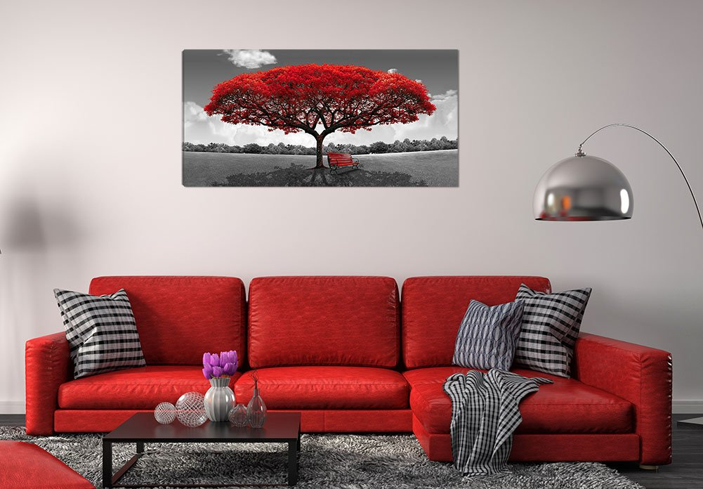 Large Black and White Picture Wall Art Large Framed Canvas Print Red Tree Bench Decor Modern Artwork for Living Room Bedroom Home Decoration by LJZart (Image #2)