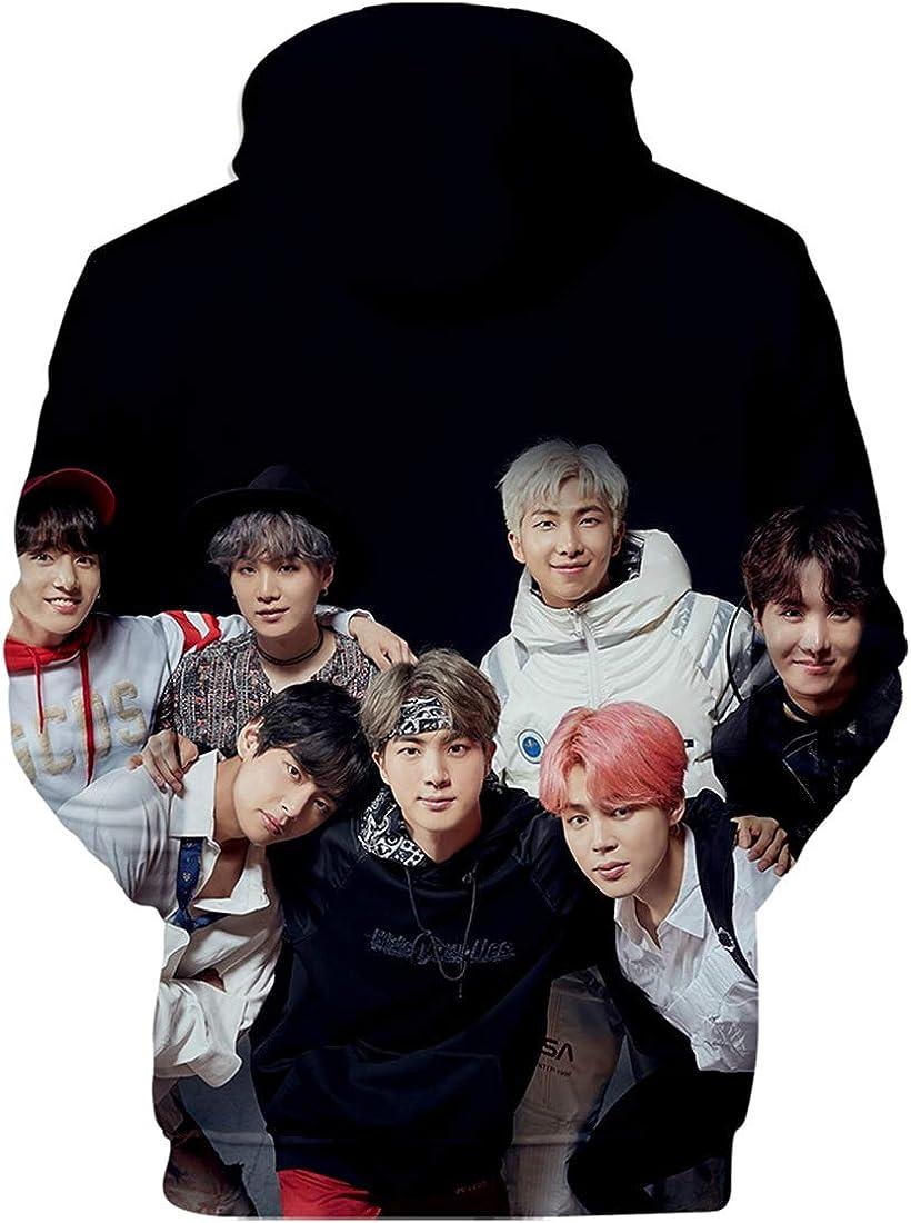 EMILYLE Bangtan Boys BTS Impresi/ón 3D Sudadera con Capucha Love Yourself Tear Chula Jimin J-Hope V Jung Kook Suga Camiseta Impresi/ón 3D Fans Cool KPOP para Mujeres Chicas