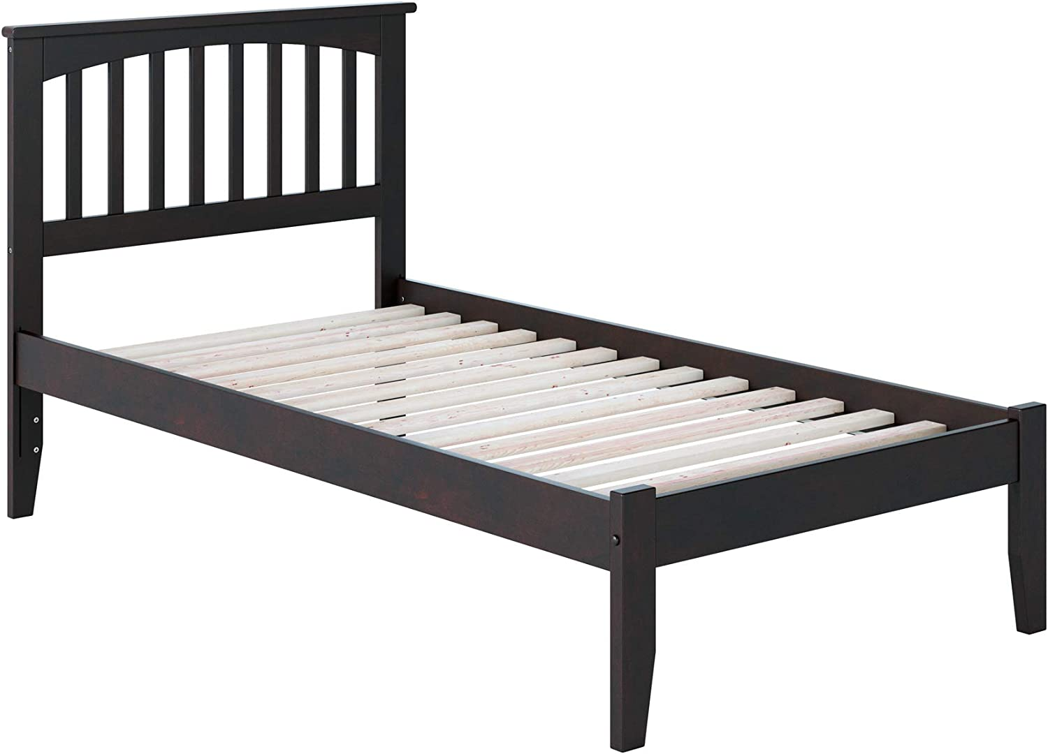Atlantic Furniture Mission Platform Bed with Open Foot Board, Twin XL, Espresso