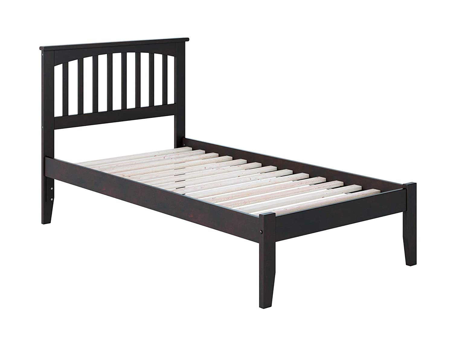 Atlantic Furniture AR8721001 Mission Platform Bed with Open Foot Board, Twin, Espresso
