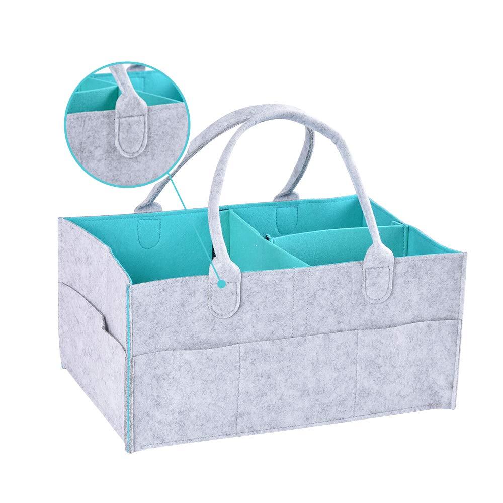F.lashes Filz Baby Windel Caddy Organizer Korb tragbar Storage Bin groß Kindergarten Tasche mit herausnehmbaren Trennwänden für Beißring Windel Lätzchen Best Baby Dusche Geschenk Korb