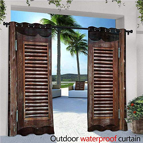 cobeDecor Western Exterior/Outside Curtains Antique Style Traditional Rustic Wild West Swinging Wooden Cowboy Bar Saloon Door for Patio Light Block Heat Out Water Proof Drape W120 x L108 Dark Brown
