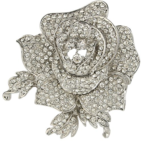 EVER FAITH Women's Austrian Crystal Blooming Beautiful Rose Flower Brooch Clear Silver-Tone -
