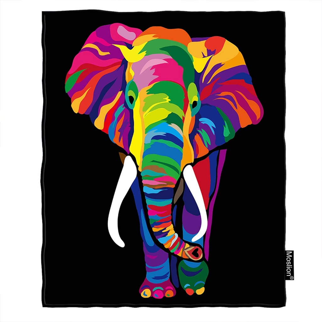 Moslion Elephant Blanket Rainbow Bright Color African Safari Animal Elephants Ivory Throw Blanket Flannel Home Decorative Soft Cozy Blankets 40x50 Inch For Baby Kids Pet Home Kitchen