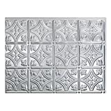 """Fasade Easy Installation Traditional 1 Brushed Aluminum Backsplash Panel for Kitchen and Bathrooms (18"""" x 24"""" Panel)"""