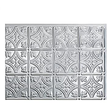 Fasade Easy Installation Traditional 1 Brushed Aluminum Backsplash Panel For Kitchen And Bathrooms 18 X 24 Panel