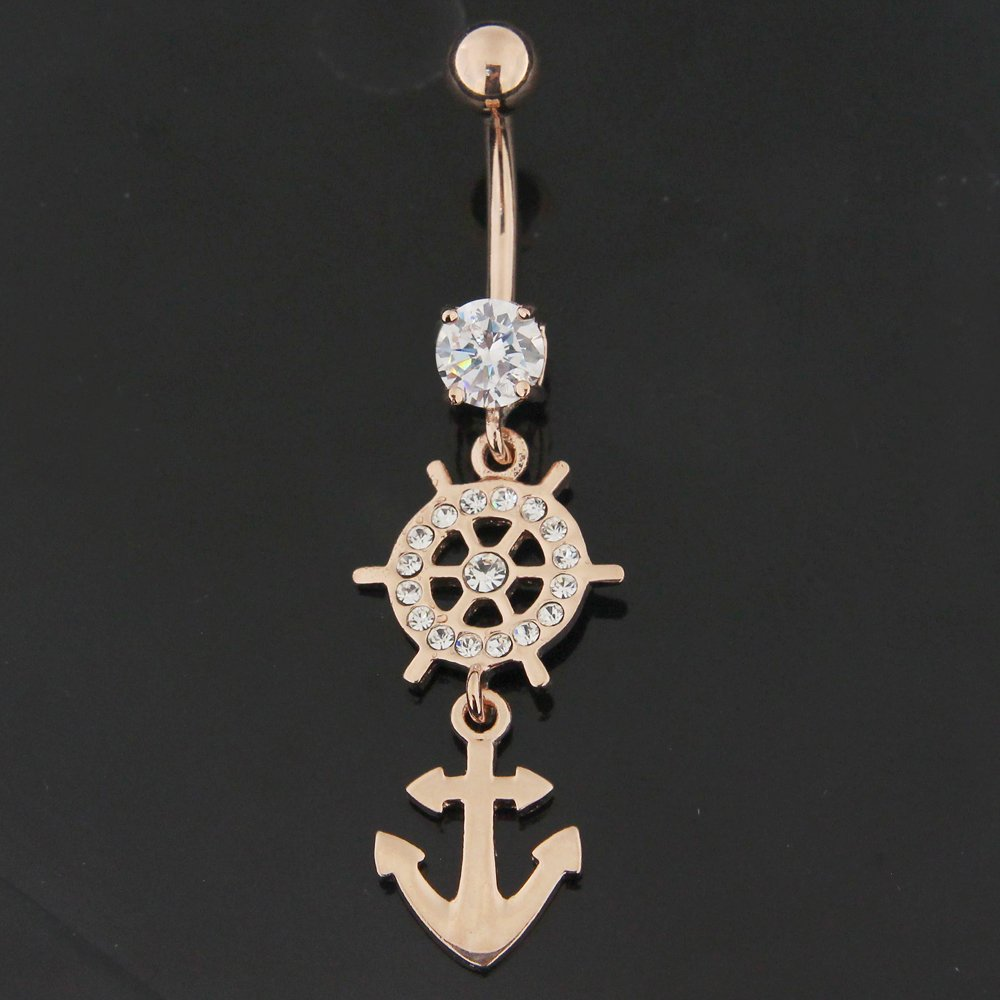 Rose Gold Plated Clear Crystal Stone Rudder Vector with Anchor 925 Sterling Silver Belly Button Ring