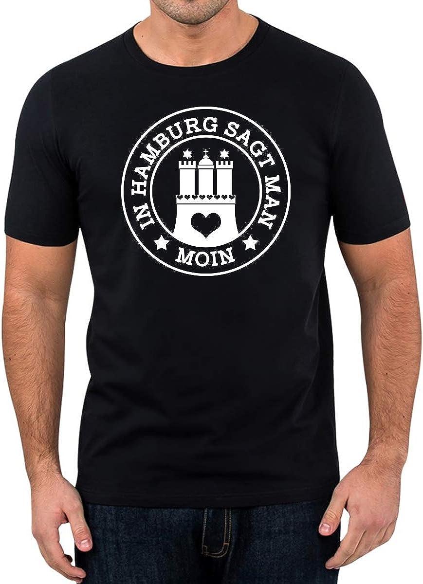 Elbster Camiseta en hamburgo dice moin - camisa de hamburgo - diversión - diciendo - refranes - para hombres