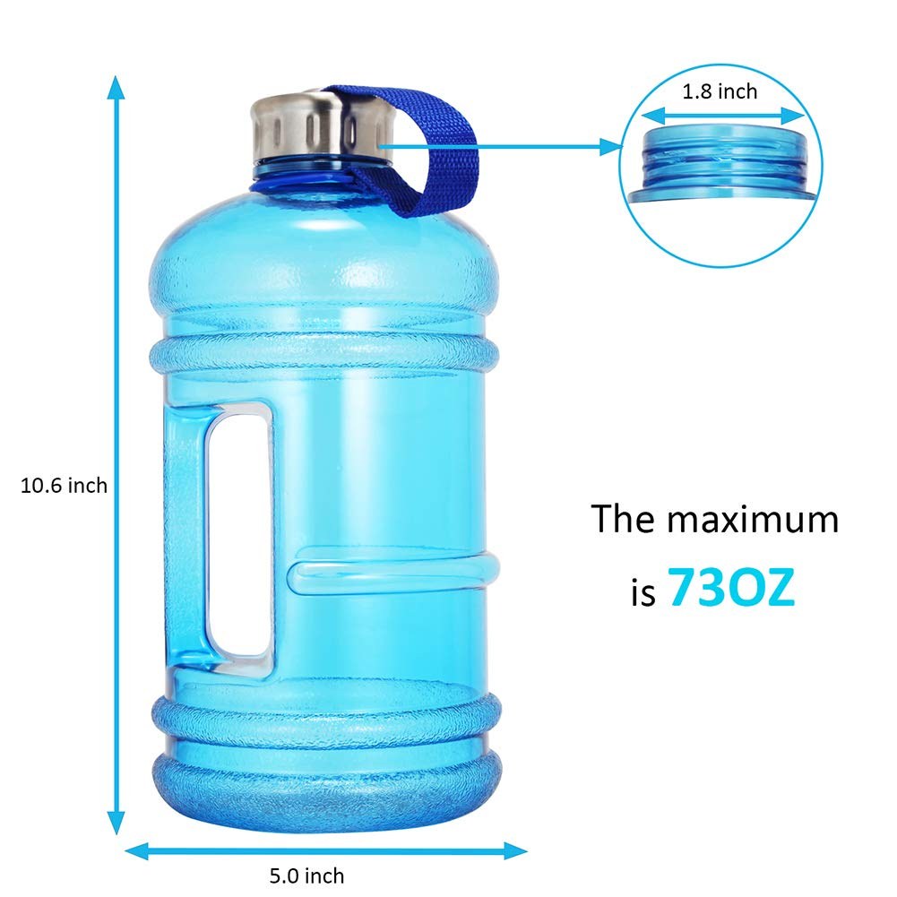Wesoke 2.2L//73OZ Large Water Bottle Half Gallon Huge Hydrate Drinking Container for Outdoor Fitness Travel Gym Big Capacity Leak Proof Anti-Fall Explosion-Proof PETG Sports Jug with Handle