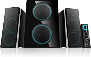 ineo Wooden 2.1 Gaming/PC Speakers with Subwoofers and Individual Control Box (W602)