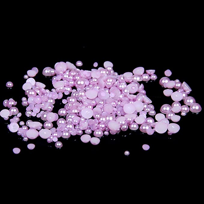 New DIY 1000pcs Half Pearl Beads purple Flat Back 1.5mm Scrapbook for Craft .