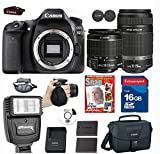 Canon Eos 80D DSLR+ Canon EF-S 55-250mm f/4-5.6 IS STM Lens+ Canon EF-S 18-55mm f/3.5-5.6 IS II SLR Lens+ 9 piece Deluxe Accessory Professional kit