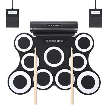 Mkxiaowei 9-Pad Plegable electrónica Drum Set batería ...