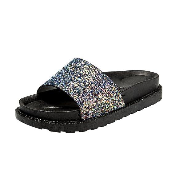 BaZhaHei Sandalias de Mujer Zapatillas Las mujeres de moda lentejuelas  punta redonda sandalias de tacón plano zapatillas playa Brillante punta  abierta plana ... 391bbd7ed3ef