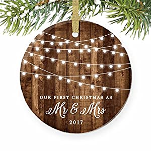 """First Christmas as Mr & Mrs Ornament 2017, Rustic 1st Married Christmas Ornament, First Married, 3"""" Flat Circle Porcelain Ceramic Ornament w Glossy Glaze, Gold Ribbon & Free Gift Box 