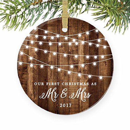 First Christmas as Mr  Mrs Ornament 2017, Rustic 1st Married Christmas Ornament, First Married, 3 Flat Circle Porcelain Ceramic Ornament w Glossy Gl…