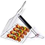 Barbecue Grill Basket, Foldable Non Stick Stainless Steel Wire Mesh Net Clip, Portable BBQ Grill Tool with Handle for…
