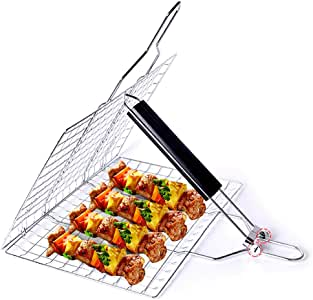 Barbecue Grill Basket, Foldable Non Stick Stainless Steel Wire Mesh Net Clip, Portable BBQ Grill Tool with Handle for Fish Vegetables Meat Steak Shrimp Chops