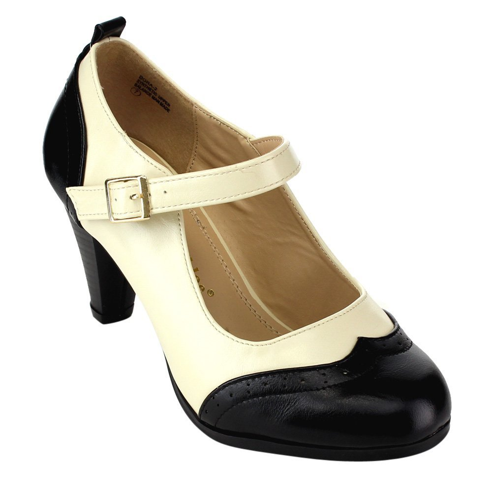1930s Style Shoes – Art Deco Shoes Chase & Chloe Dora-2 Womens Round Toe Two Tone Mary Jane Pumps $32.99 AT vintagedancer.com