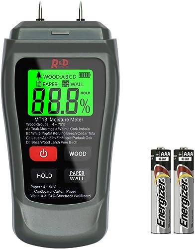 Wood Moisture Meter Reddragon MT-18 Two Pins Digital Wall Moisture Detector Paper Humidity Tester for Wood Building Material Firewood Walls Paper Floor Grey