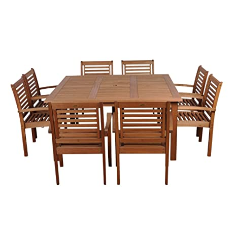Amazonia Milano 9 Piece Eucalyptus Wood Square Patio Dining Set
