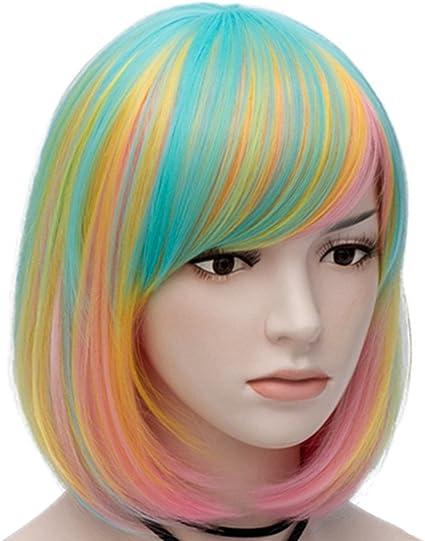 Wigstyle CapM021G - Peluca corta y colorida para niñas y ...
