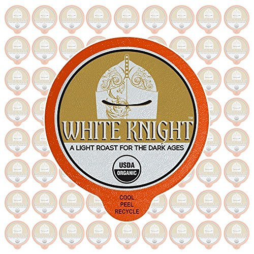 Fresh Roasted Coffee LLC, Organic White Knight Coffee Pods, Light Roast, Artisan Blend, Fair Trade, USDA Organic, Capsules Compatible with 1.0 & 2.0 Single-Serve Brewers, 72 Count