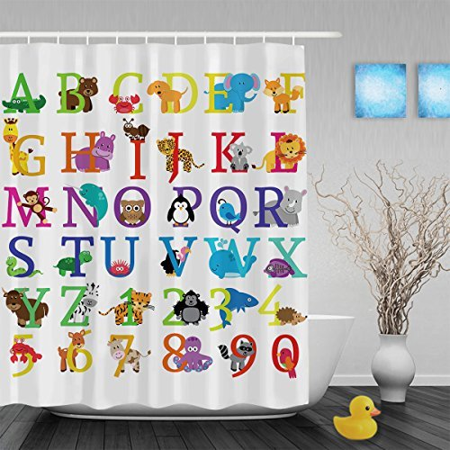 Cartoon Animals Alphabet Letters & Nunbers Kids Nursery Bathroom Shower Curtains Waterproof Mildew Polyester Fabric 60