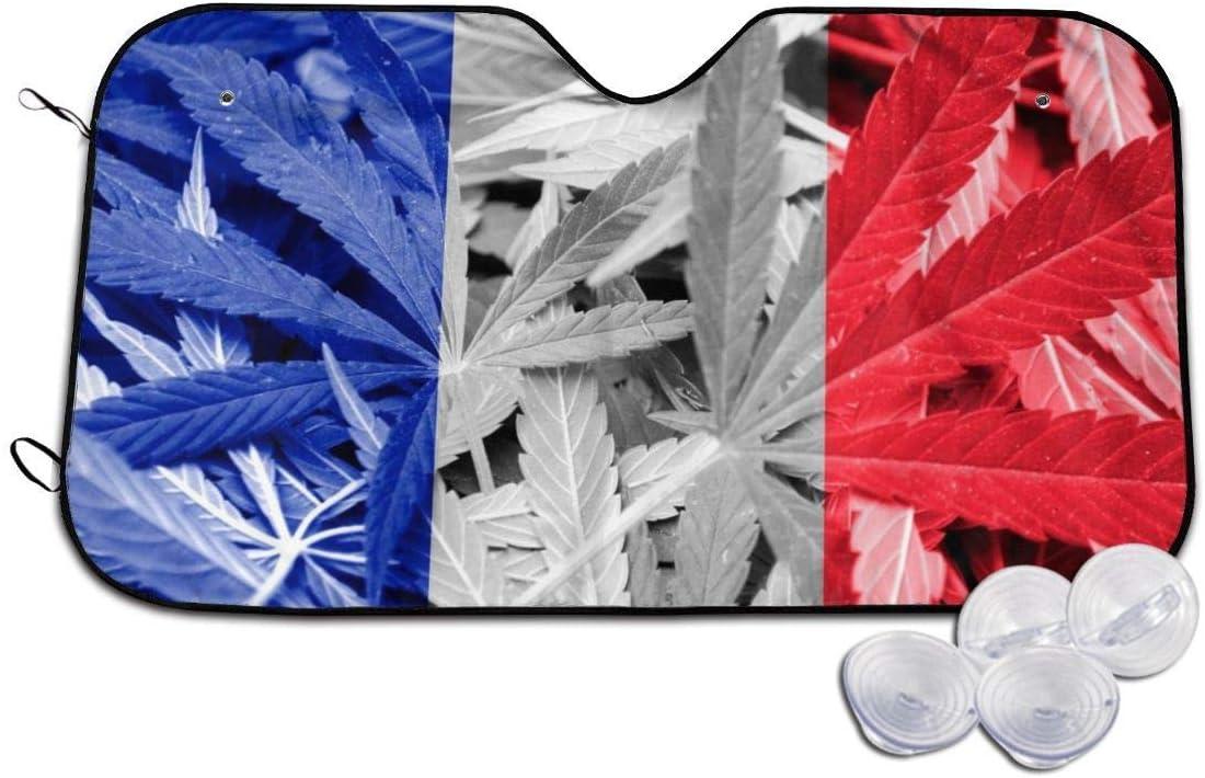 YJWLO - Parabrisas Plegable para Coche, diseño de la Bandera de Francia con Hojas de Marihuana y Cannabis, con Reflector de Rayos UV y Protector Solar para Ventana Delantera con Dos tamaños