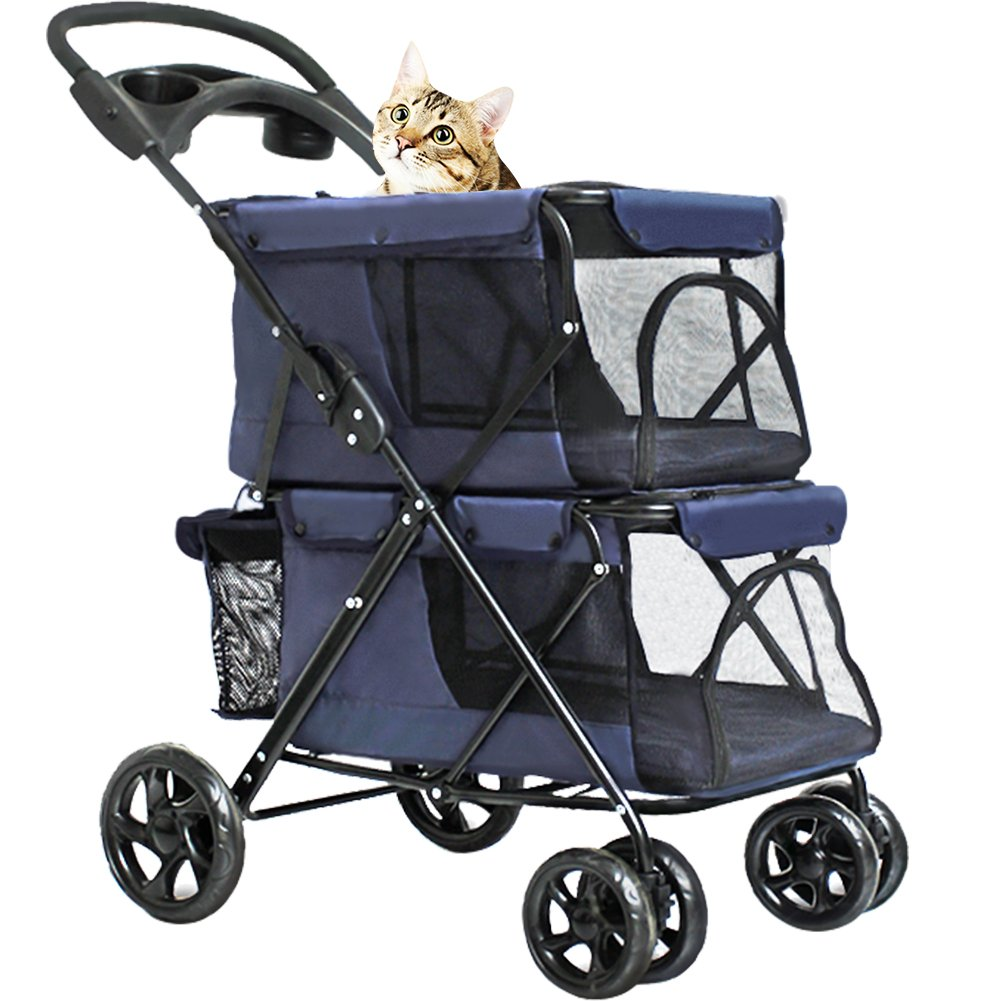 WINGOFFLY Double-Deck 4 Wheels Pet Dogs Cats Stroller with Cup Holder(Navy Blue) by WINGOFFLY
