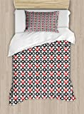 Lunarable Poker Twin Size Duvet Cover Set, Playing Card Suits in Round Frames Luck and Risk Themed Symbols of Gambling, Decorative 2 Piece Bedding Set with 1 Pillow Sham, Pale Grey Red Black