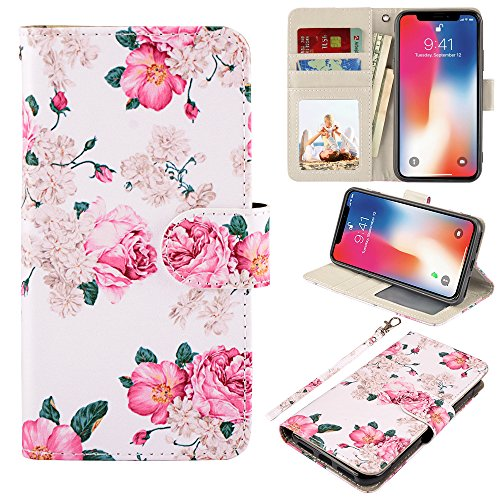 iPhone X Case, UrSpeedtekLive iPhone X Wallet Case, Premium PU Leather Wristlet Flip Case Cover with Card Slots & Stand for Apple iPhone X, Flower 2