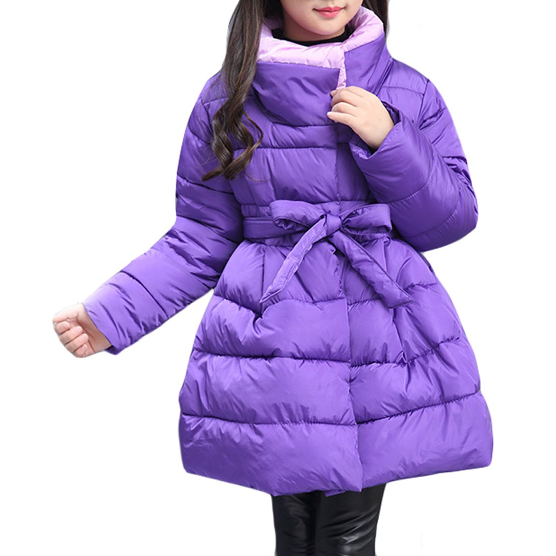Gaorui Girls Quilted Parka Coat Long Padded Bubble Puffer Jacket Belted Winter Outwear 6-13T