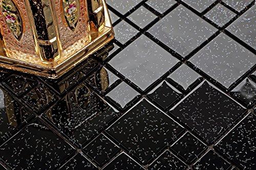 Mattonelle in vetro per mosaico in due misure di colore nero con