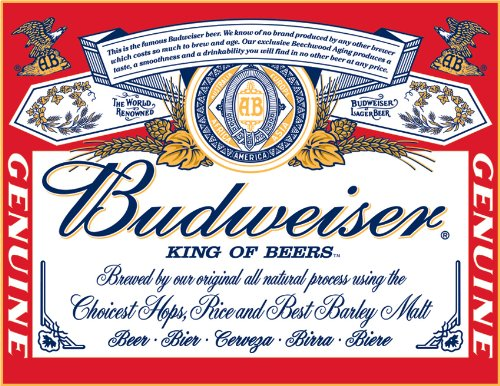 Budwiser Label Tin Sign 16 x 13in (Label Sign Budweiser Tin)